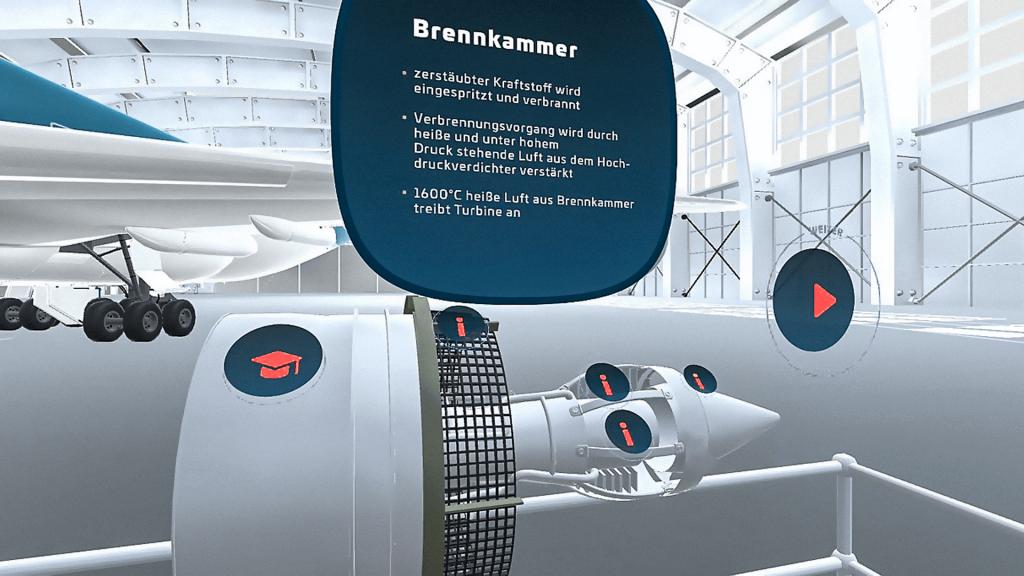 Virtual Reality Flugzeug-Brennkammer